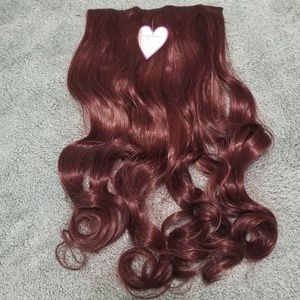 """Red Hair Extension Clip-in 24"""" Long Wavy Hairpiece"""